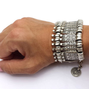 B-0387  Bohemian Antalya Bracelet,Golden, Silver, Gypsy, Statement, Boho Coachella, Festival Turkish Jewelry, Sinaya, Tribal Ethnic