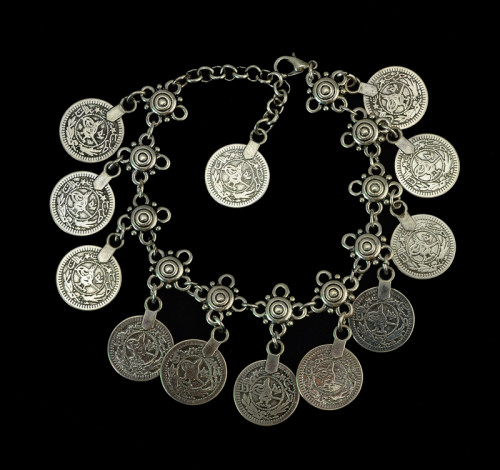 B-0388  Flower Child Silver Coin Anklet. Adjustable Handmade floral design. Boho Gypsy Beachy Ethnic Tribal Festival Jewelry Turkish Bohemian