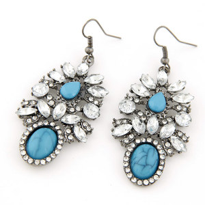E-3216  Fashion European Style Gun Black Alloy Rhinestone Crystal Blue Stone Gem Flower Dangle Earring
