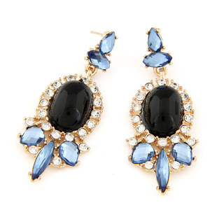 E-3219  Fashion European Style Gold Plated Alloy Rhinestone Crystal Flower Big Gem Dangle Earring