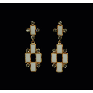 E-3217  Fashion European Style Gold Plated Alloy Rhinestone White Black Enamel Cross Dangle Earring