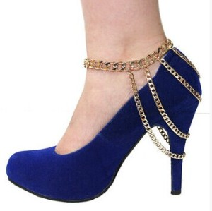 B-0383 Europe Style Silver Gun Black Gold Plated Multilayer Chains Tassels Foot Anklets