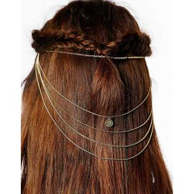 F-0171  European Style Gold Plated Multilayer Chain  Head Comb Hair accessories
