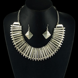 N-5027  Bohemian,Silver plated Jewelry Set,Geometry Chunky Chain Statement Necklace ,Indian ,Ethnic Necklace Earring Set