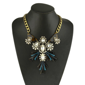 N-5031  European  Style Thick Bronze Chain Clear  Stones Water Drop Geometry Jade Choker Chunky Statement Pendant Necklace