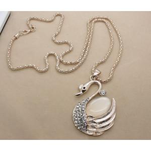 N-5033  Korea style gold plated alloy cat eye stone rhinestone Swan long pendant necklace