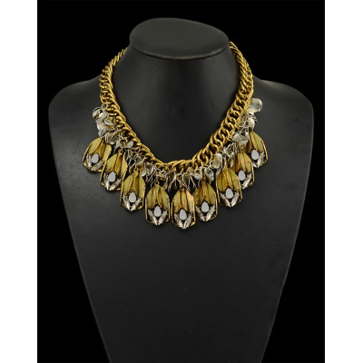N-5035  Punk Style Thick Chain Tribe Fringe Necklace Insight Guides Coin Crystal Geometry