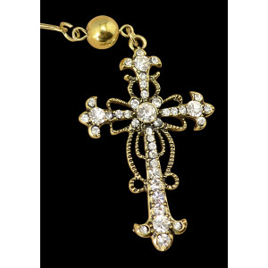 N-5041 Baroque Style Long Metal Balls Chain Hollow Out Rhinestone Cross Pendant Necklace Insight Guides