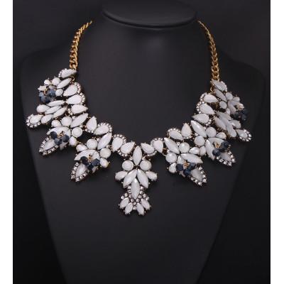 N-5039 European Style Crystal Gemstone Statement Necklace Flower Leaves Rhinestone New In Goods