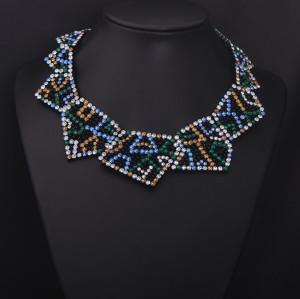 N-5040 European Style Full Clear Blue Bronze Green Rhinestone Geometry Statement Collar Necklace