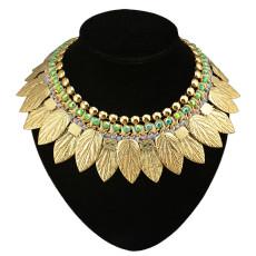 N-3550 Fashion European Style Gold Plated Metal Leaf Blur Rhinestone Choker Bib Statement Necklace