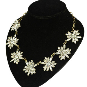 N-5042  Newest bronze alloy clear crystal drop flower clavicle necklace