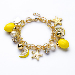 B-0395  Korea Style Star lemon Fruit Rhinestone Metal Pearl Balls Charms Bracelet