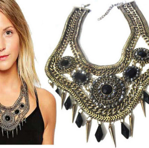 N-5047 Bohemia style vintage gold wide chunky chain facted acrylic blue black beads woven choker statement necklace