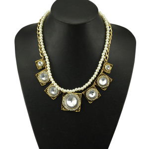 N-5060 Golden  Geometry Square Rhinestone Crystal Flower Pendant Double Metal Pearl Chain Necklace