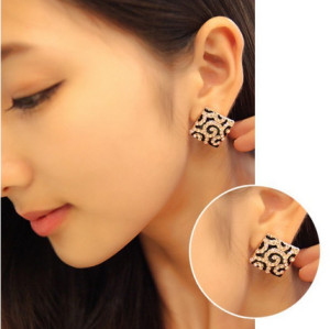 E-3224  Korea mstyle gold plated black stripes enamel rhinestone crystal square stud earrings