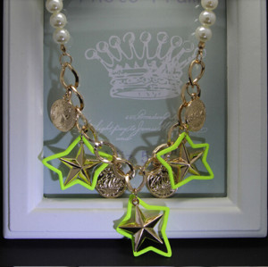 N-5057  Euroean style gold plated pearl chain  round mental coin head star neon color  statement pendant & necklace