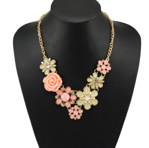 N-5065  Euroean style gold plated chain colorful acrylic gemstone crystal flower statement pendant & necklace