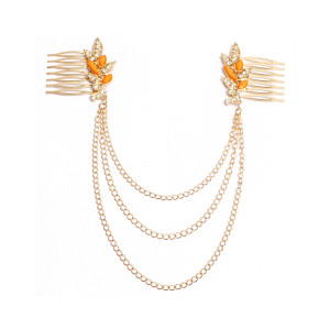 F-0177  European style gold Plated  Mental Orange leaf rhinestone tassels hair comb hair accessories