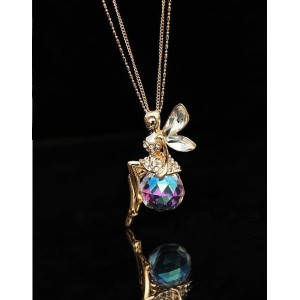 N-5055 Korea Style Long Double Gold Plated Chain Crystal Rhinestone Angle Pendant Necklace