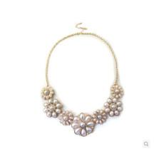 N-5054 Korea Style  Gold Plated Chain  Rhinestone Pearl White Flower Choker Necklace