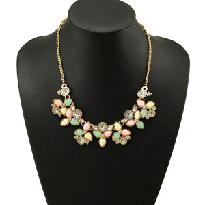 N-5079  Drop Resin Gem Clear Crystal Flower Shourouk Necklace Gold Plated Alloy