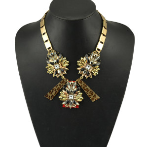N-5074  European style gold plated square flat chain metal crystal rainbow drop flower leopard print three rows pendant necklace
