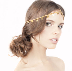 F-0174   European style gold Plated Metal Coin Paillette hairband hair accessories