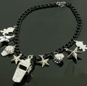 N-5073  European style Black Chain Star Rhinestone Hat Boy baseball whistle Charms Necklace