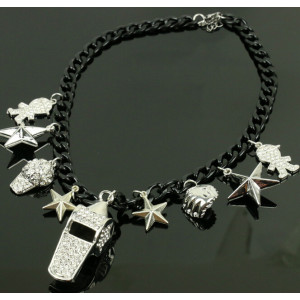 N-5073  European style Black Chain Star Rhinestone Hat Boy baseball whistle Charms Necklace