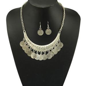 N-5078 Gypsy Bohemian Beachy Chic crescent Coin Fringe Statement Necklace Earrings Set,rhinestone Boho Festival Silver, Fringe Bib, Coin, Ethnic, Turkish, India, Tribal,