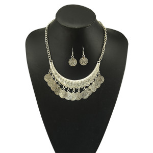 N-5078 Gypsy Bohemian Beachy Chic crescent Coin Fringe Statement Necklace Earrings Set,rhinestone Boho Festival Silver, Fringe Bib, Coin, Ethnic, Turkish, India, Tribal,