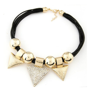N-5077  European syle multilayer black leather chain gold silver hoop rhinestone triangle pendant choker necklace
