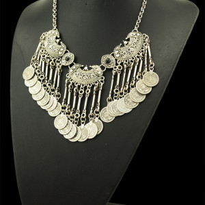N-5087  Bohemian Fringe Coin Collar Statement Necklace, Boho, Gypsy, Antalya, Ebony, Silver, Festival, Coachella, Turkish, India, Itor, Ethnic