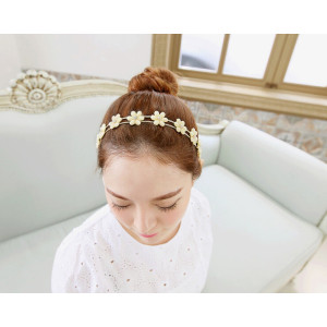 F-0181  European style gold Plated Metal Long Silk Chain Beige Pink Acrylic Rhinestone Flower hairband hair accessories