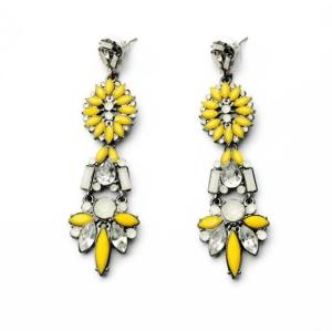 E-3241  European Gun Black Metal Acrylic Rhinestone Shourouk Flower Dangle Earrings