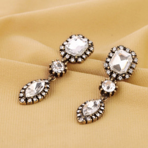 E-3236  Korea style bronze allou clear crystal rhinestone drop earrings for women