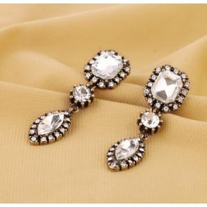 E-3236  Korea style bronze allou clear crystal rhinestone drop earrings for women