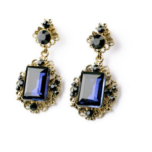 E-3235  European style bronze alloy royalblue crystal vintage flower earrings