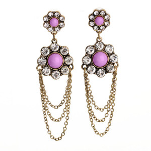 E-3234  European style bronze alloy Pink Acrylic Gem Rhinestone Flower Chain Fringe Dangle Earrings
