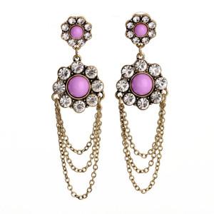 E-3234  European style bronze alloy Pink Acrylic Gem Rhinestone Flower Chain Fringe Dangle Earrings