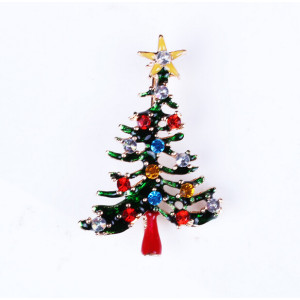 P-0135  Lovely Style Gold Plated Alloy Enamel Rhinestone Star Christmas Tree Pin Brooch