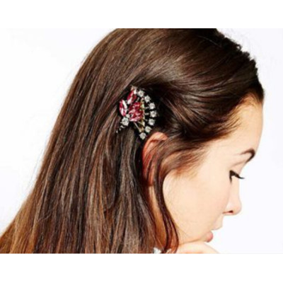 F-0186 European style gold Plated Pink Crystal Fan Shaped Hair Clip  hair accessories