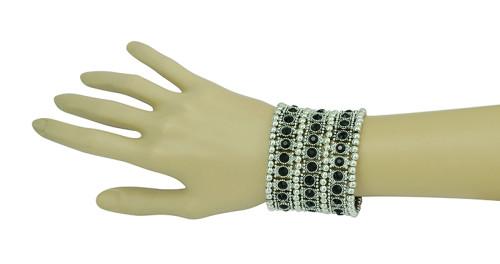 B-0404  Vintage Style Silver Golden Bohemian Crystal Wide Tribe Beads Carving Bangle Bracelet