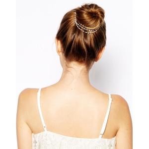 F-0185 European Style Gold Plated White Pearl Tassels Chain Hair Clip hair accessories