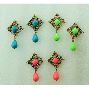 E-3248  Bohemian Style Vintage Bronze Alloy Hollow Out Carving Flower Resin Gem Drop Dangle Earrings