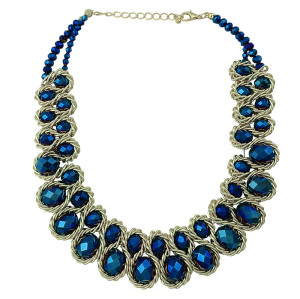 N-5108  New Arrived Golden Metal Blue Black Big Crystal Chain Choker Necklace