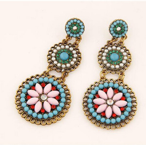 E-3237  Bohemian Style ethnic big round charm colorful long drop earring