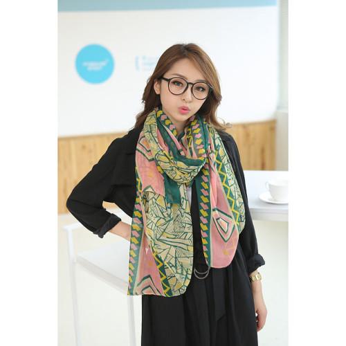C-0076  New Arrival Geometry Flora Print Cotton Linen Soft Scarves Shawl Women