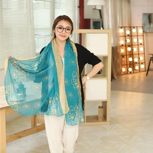 C-0069  New Arrival Famous Brand Flower  Print Cotton Linen Soft Long Scarves Shawl 3 Colors Women
